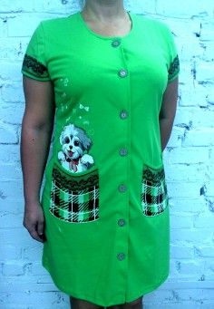 5407 Халат  женский 42-56 зеленый
