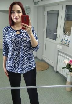 5501 Блуза синяя с белым  50-60