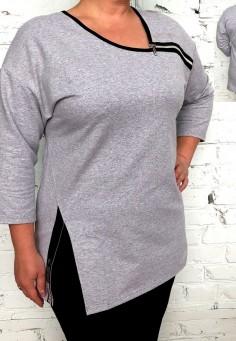 5560 Туника 44-60 серый меланж