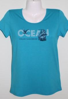 2733 Футболка женская 46-52 голубой OCEAN